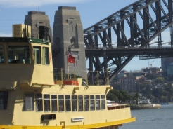 The Wolfs arty shot of the ferry and Sydney Harbour Bridge