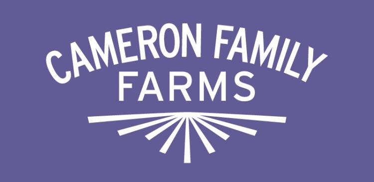 Cameron Family Farms logo purple bgd